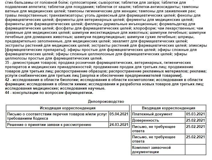 Информация о делопроизводстве по заявке